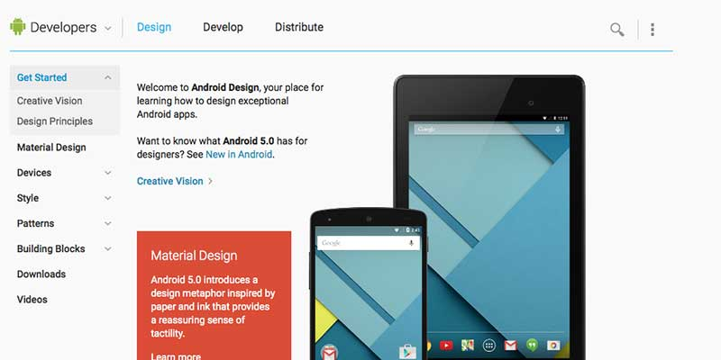 Google Android Developers Design Portal