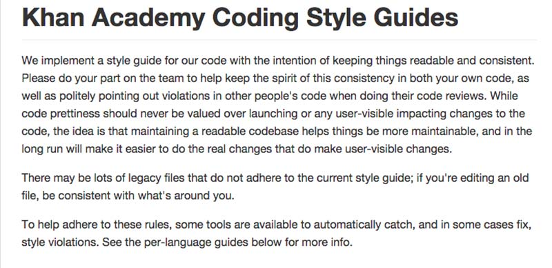 Khan Academy Coding Style Guides