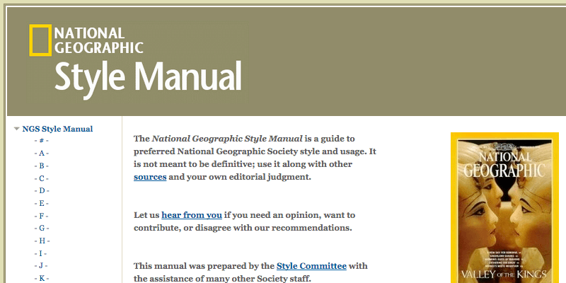 National Geographic Style Manual